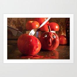 Tomato food funny kitchen crime murder scene Art Print