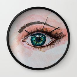Watercolor painting of one eye Wall Clock