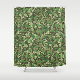 Green ivy with ornament on dark brown background Shower Curtain