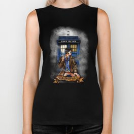 10th Doctor With Blue phone Box Biker Tank