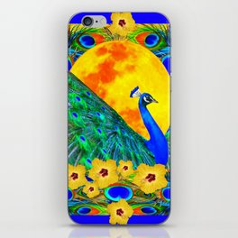 YELLOW HIBISCUS FULL GOLDEN MOON  BLUE PEACOCKS iPhone Skin