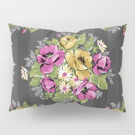 Floral Bouquet on Striped Background Pillow Sham
