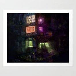 Late Night Ramen in SuperAwesomeCity Art Print