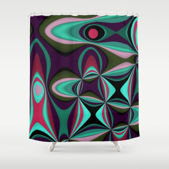 Abstract In Pink Purple Green And Turquoise Shower Curtain By Thea Walstra