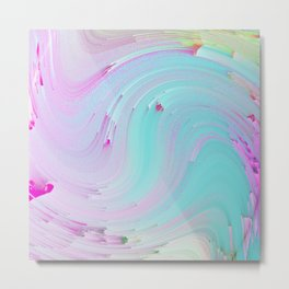 Girly Rainbow Abstract Ombre Wave Metal Print