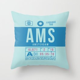 Baggage Tag B - AMS Amsterdam Schiphol Netherlands Throw Pillow