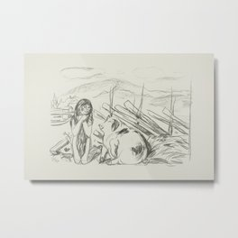 Omega and the Pig (ca. 1908–1909) by Edvard Munch. Metal Print