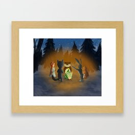 Christmas with magical friends Framed Art Print