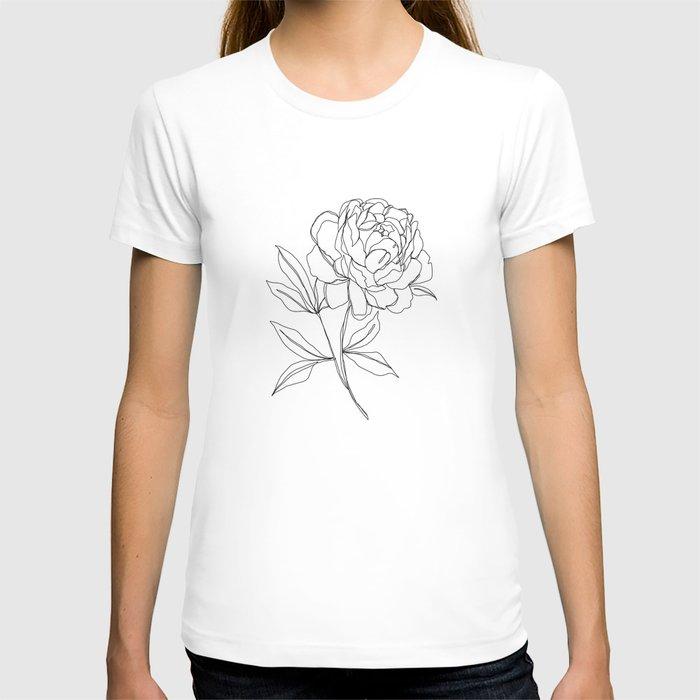 Botanical illustration line drawing - Peony T-shirt