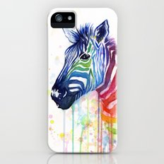 Zebra Watercolor Rainbow Animal Painting Ode to Fruit Stripes Slim Case iPhone (5, 5s)