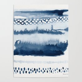 Beach Series Indigo Waves Watercolor Painting Poster