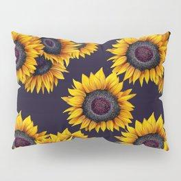 Sunflowers yellow navy blue elegant colorful pattern Pillow Sham
