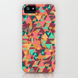 Colourful triangular mosaic in orange, red and green iPhone Case