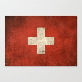 Old and Worn Distressed Vintage Flag of Switzerland Canvas Print