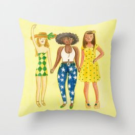 brazilian supporters Throw Pillow