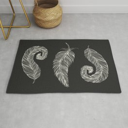 Three White Decorative quills on Black, Vertical design 3 Feathers Minimalist line drawing, Modern a Rug
