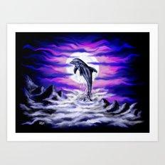 Moonlight-Dolphin Art Print