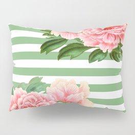 Pink Peonies Green Stripes Pillow Sham