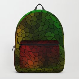 Volumetric texture of pieces of gold glass with a dark mysterious mosaic. Backpack