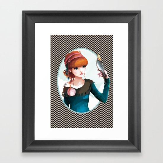 Rose et l'oiseau Framed Art Print