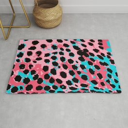 Cheetah Spots in Soft Pink and Blue Rug
