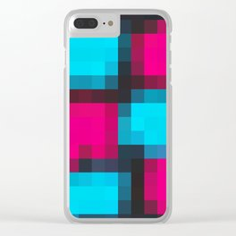 blue pink and black pixel abstract Clear iPhone Case