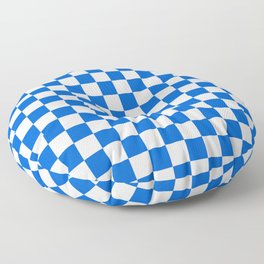 Gingham Brilliant Blue Checked Pattern Floor Pillow