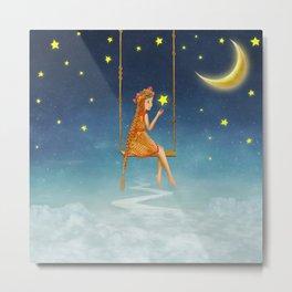 The lovely girl shakes on a swing , illustration art Metal Print