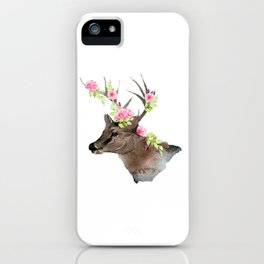 Boho Chic Deer With Flower Crown iPhone Case