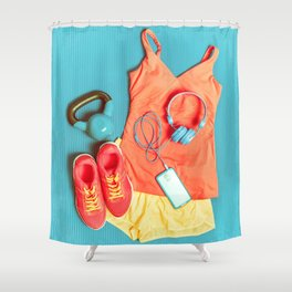 Fitness at gym activewear workout clothes with kettlebell listening to music on phone Shower Curtain