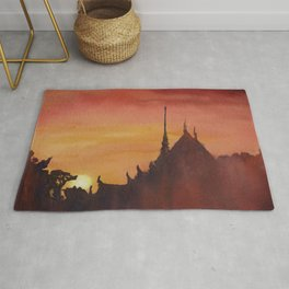 Silhouette of Buddhist wat at sunset in Thailand.  Watercolor painting of Wat. Rug