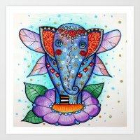 baby elephant Art Prints featuring Baby elephant  by oxana zaika