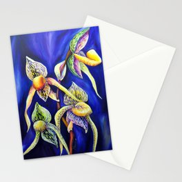 Orchid -  The Paphiopedilum , known as Lady's Slipper Stationery Cards