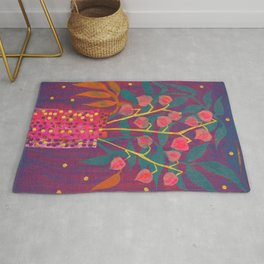 Chinese Lanterns in Neon Colors, Physalis, Abstract Botanical Bold Floral Rug