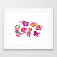 kirby Framed Art Prints featuring Kirby by Spacey Brains