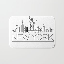 Minimal New York Skyline Design Bath Mat