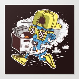 ToyDj Brings A Box With Vinyls And Smoke Canvas Print