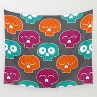 skulls Wall Tapestries featuring Skulls by Michael Goodson