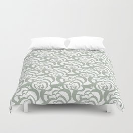 Sage Green Floral Flower Clouds Duvet Cover