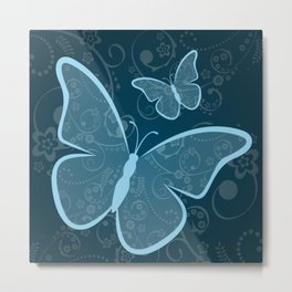 Ornamental blue butterflies background Metal Print