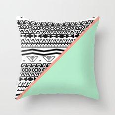 Block | Black White Aztec Pattern Mint Green Color Block Throw Pillow
