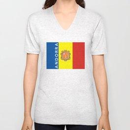 Andorra country flag name text Unisex V-Neck