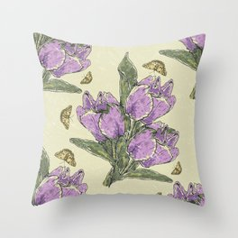Retro Spring Crocus Carousel Throw Pillow