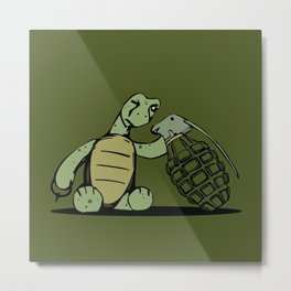 Turtle and The Bomb Metal Print