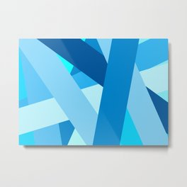 Retro Blue Mid-Century Minimalist Geometric Line Abstract Art Metal Print
