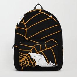 Halloween Orange Spider web with Bats Backpack