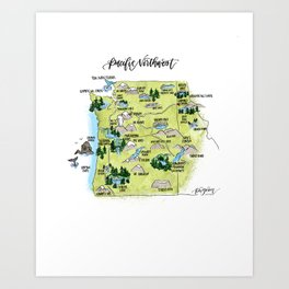 Pacific Northwest Illustrated Map Art Print