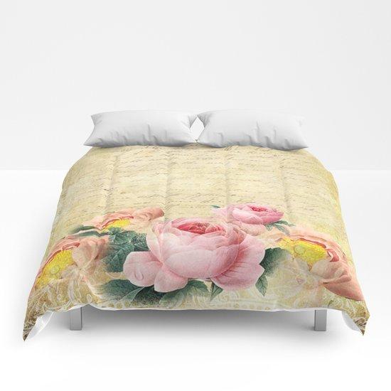 Old Vintage Love Letter Roses #7 Comforters