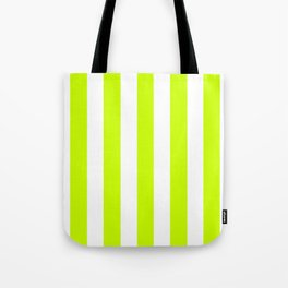 Fluorescent yellow - solid color - white vertical lines pattern Tote Bag