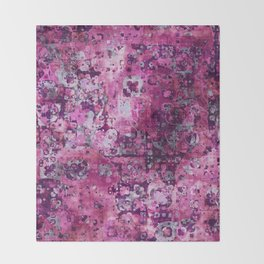 Messy Pink Foral Throw Blanket